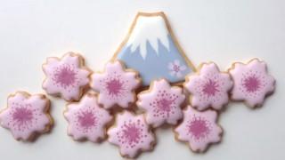 海外「春らしいパステルカラー」富士山&さくらのクッキーの作り方!