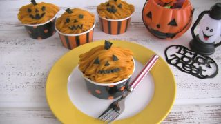 海外「ハロウィン用カボチャカップケーキ」かぼちゃモンブランを作ってみた