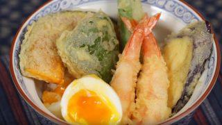 海外「天ぷらに甘辛いタレが絶妙!」エビ、半熟卵を使った海老玉天丼の作り方