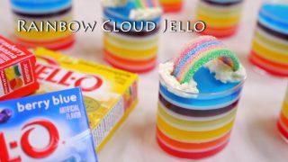 海外「虹色ゼリーと虹のお菓子を使った」雲に虹が架かったゼリーの作り方